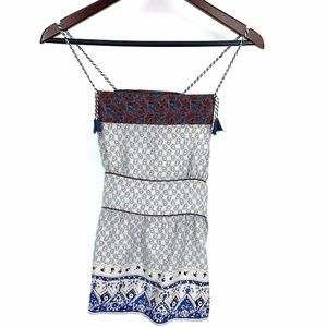 Free People Paisley Boho Quilted Tassel Tank Top S